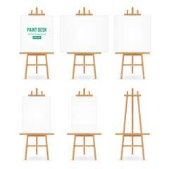 Paint Desk Vector. Artist Easel Set With White Paper. Isolated On White Background. Realistic Painter Desk Blank Canvas On painting Easel.