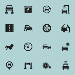 Set Of 16 Editable Vehicle Icons. Includes Symbols Such As Highway, Tire, Battery And More. Can Be Used For Web, Mobile, UI And Infographic Design.