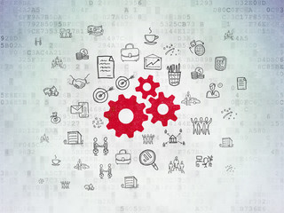Business concept: Gears on Digital Data Paper background