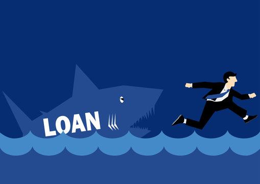 Business Illustration of a businessman chased by Loan Shark