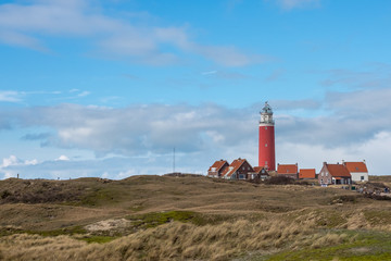 Panoramic view on the old lighthouse near De Cocksdorp, Texel, The Netherlands.