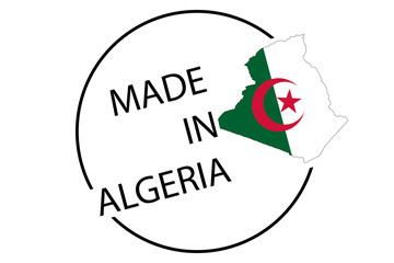 Made in Algeria round logo, vector