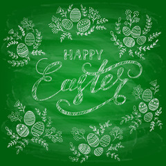 Green chalkboard background with Happy Easter and decorative eggs