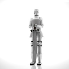 Armor with sword over white background