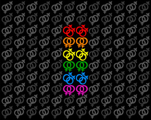 Gay and lesbian love symbols forming a rainbow colored pride flag among gray heterosexual symbols. Isolated vector illustration on black background.