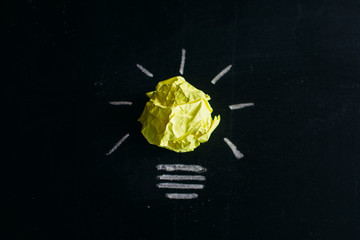 Great idea concept, crumpled paper on the chalkboard turned into a light bulb