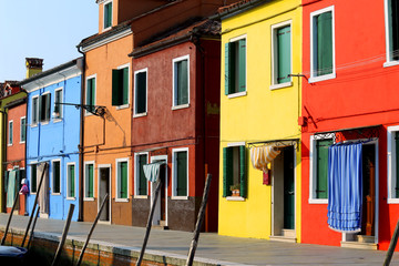 island of Burano and vivid color houses in Italy