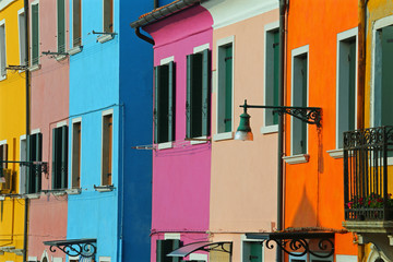 Burano Island in Italy and the  brightly colored houses near Ven