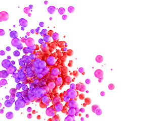 Colorful abstract background with spherical particles.