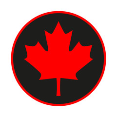 Maple leaf emblem on black background