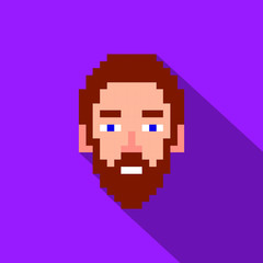 Man with beard pixel icon