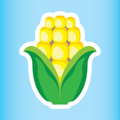 Illustration icon of fruit and sereal healthy corn on the cob. Ideal for nutritional and food education materials