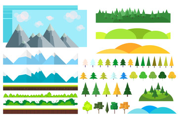 Trendy Set of different flat elements,trees, bushes , mountains and other natural objects.