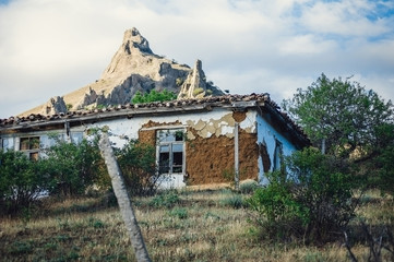 Crumbling rural house in the mountains.