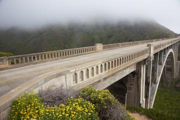 Road, Bridge, Fog, Big Sur, California