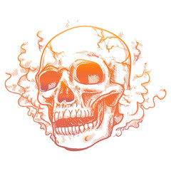 Hand drawn human skull in smoke smell. Vector colorful tatoo design