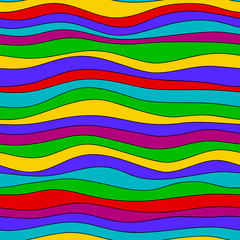 Colorful rainbow wave texture, seamless vector pattern for textile, backdrops, wallpapers, wrapping paper and other. gay pride colors