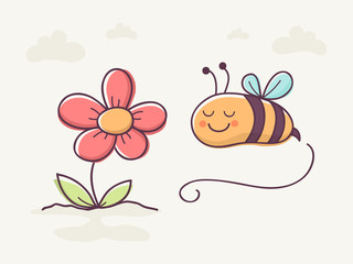 Hand Drawn Cute Bee and Flower.