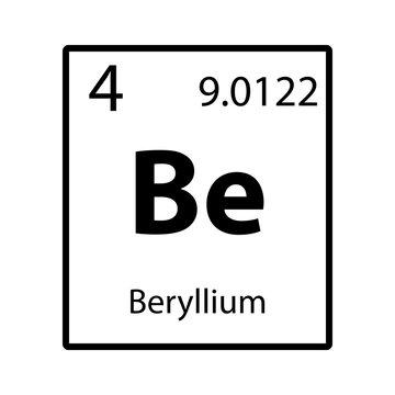 Beryllium periodic table element icon on white background vector