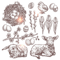 Hand Drawn Set Of Happy Easter Symbols And Signs. Sketch Tulips, Willows, Apple Blossom Branches, Nest With Eggs, Chicken, Rabbit, Baby Sheep, Easter Eggs