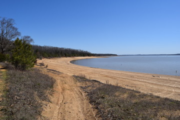Shoreline of Enid Lake in Mississippi