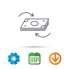 Money flow icon. Cash investment sign. Currency exchange symbol. Calendar, cogwheel and download arrow signs. Colored flat web icons. Vector