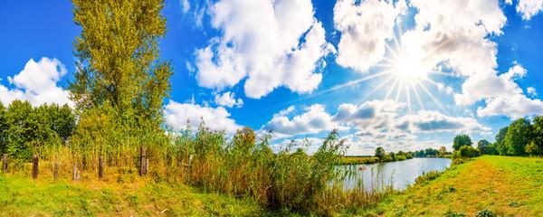 Wall Mural - Landschaft im Sommer mit Sonne, Weide und Fluss