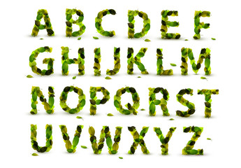 Green Leaf Alphabet Set