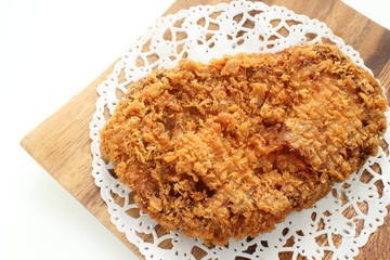 Japanese food, Tonkatsu Deep fried pork on wooden plate
