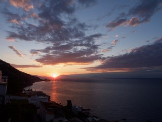 Fall sunrise on a clear morning in the Amalfi Coast, Italy