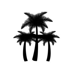 dark contour palms icon, vector illustraction design