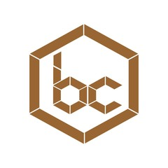 initial letter bc brown color logo vector