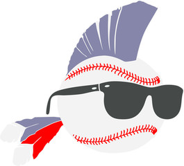 Baseball Mowhawk Design with Sunglasses
