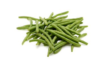 Fresh green beans isolated on a white background
