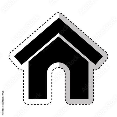 Mascot House Silhouette Isolated Icon Vector Illustration