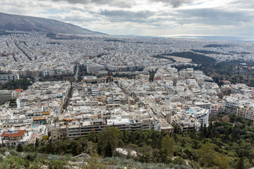 Amazing Panorama of the city of Athens from Lycabettus hill, Attica, Greece