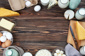 Fresh dairy products on wooden background