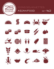 Icons silhouettes asian food set №2
