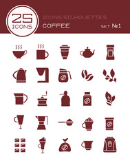 Icons silhouettes coffee set №1