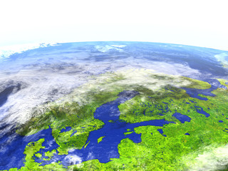 Scandinavian Peninsula on realistic model of Earth