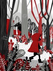 Little Girl in Red Hood Walking in Forest Fairy Tale Illustratio