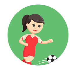 soccer ball player girl running in circle background