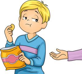 Kid Boy Snack Selfish