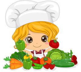 Kid Girl Chef Vegetables
