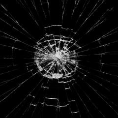Broken glass on black background ,texture backdrop object design accident crash concept