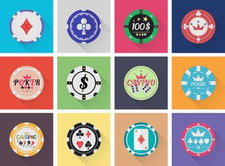 flat casino chips set raster format
