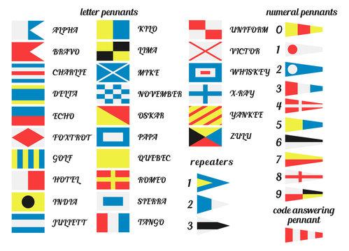 Set of flags international marine signal.