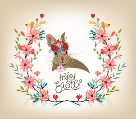 Happy easter card template, rabbit cute invitation