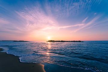 Sunset Sea in Yunohama Beach,Tsuruoka,Yamagata,Japan
