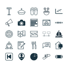Set Of 25 Universal Editable Icons. Can Be Used For Web, Mobile And App Design. Includes Elements Such As Fork Knife, Slipper, Connected Devices And More.